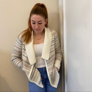 knit cardigan with tribal pattern